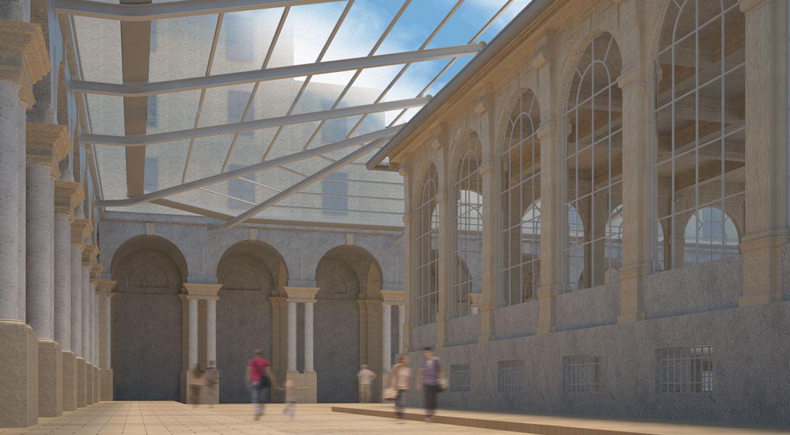 mercato orientale genova_copertura vetro_restauro chiostro